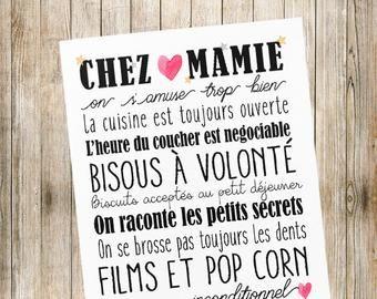 Affiche Chez Papi Mamie Ou Chez Mamie Idee Cadeau Grand