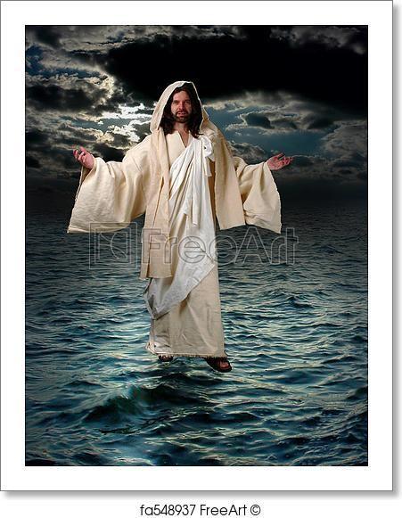 Jesus Walking on the water - Artwork  - Art Print from FreeArt.com
