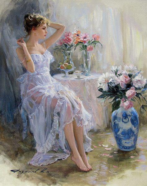 Konstantin Razumov (born A girl and flowers. Oil on canvas, 41 × 33 cm oh my god they keep getting better Aesthetic Painting, Aesthetic Art, Kreative Portraits, Munier, Art Hoe, Classical Art, Renaissance Art, Pretty Art, Beautiful Paintings