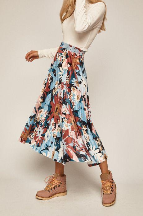 Spodnica Damska Plisowana W Kwiaty Medicine Everyday Therapy Fashion Midi Skirt Floral Skirt