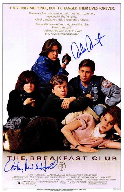 Emilio Estevez & Anthony Michael Hall Dual Signed The Breakfast Club 11x17 Movie Poster