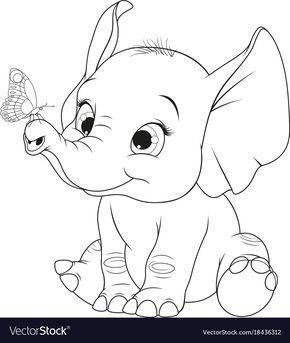 Funny Kid Elephant Royalty Free Vector Image Vectorstock Cartoon Elephant Drawing Elephant Drawing Elephant Sketch