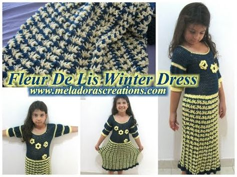 Fleur De Lis Winter Dress - Crochet Tutorial with free pattern from Meladora's Creations