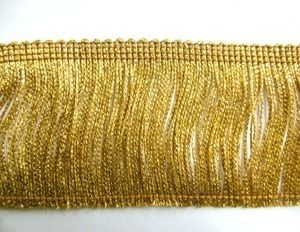 6in Metallic Chainette Fringe Trim Gold