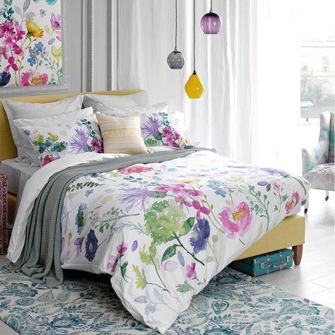 Sunny Ditsy Floral Duvet Covers Luxury Modern Watercolour Quilt Bedding Sets