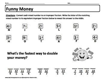 Freebie Riddle Worksheet Funny Money Self Checking Worksheet On