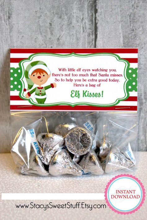Elf Kisses Christmas Bag Topper  DIY Printable by  www.StacysSweetStuff.Etsy.com
