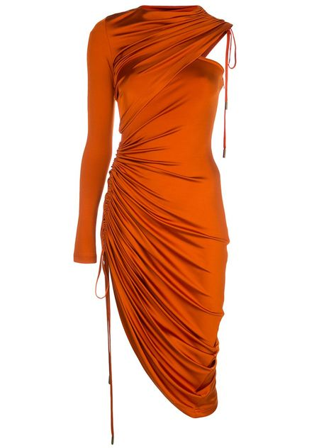 Burnt orange satin single sleeve cocktail dress from Monse featuring a round neck, a ruched side section, an asymmetrical shape, a drawstring fastening, a cold shoulder design and an adjustable fit. Burn Dressing, Burnt Orange Dress, Casual Chique, Cocktail Movie, Cocktail Sauce, Cocktail Shaker, Cocktail Recipes, Cocktails, Jeanne Lanvin