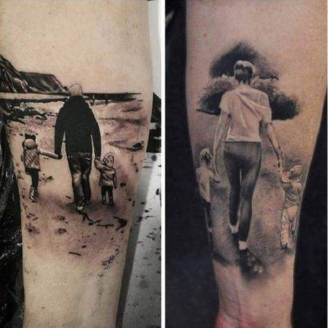 A Complete Family Tattoo. Family is complete when there is a boy and a girl and two loving parents. This tattoo piece depicts the same.