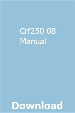 Crf250 08 Manual Manual Cessna Case Ih