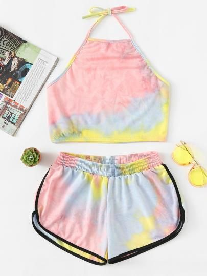 Tie Dye Crop Cami And Shorts Setfor Women Romwe Summer Outfits