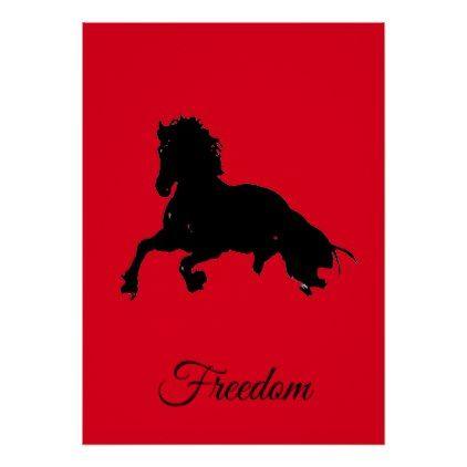 Freedom Red Black Horse Pop Art Poster Zazzle Com Pop Art