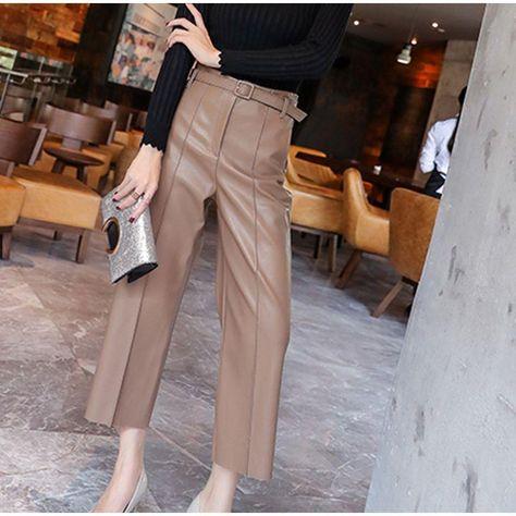 ELEGANT KOREAN OFFICE STYLE PU LEATHER PANTS - Khaki / S