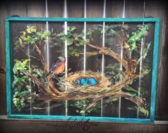 Old recycle window screen Robin and Nest by RebecaFlottArts