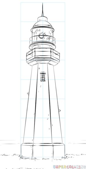 Drawing For Beginners How to draw a lighthouse step by step. Drawing tutorials for kids and beginners. Lighthouse Sketch, Lighthouse Painting, Doodle Drawings, Easy Drawings, Pencil Drawing Tutorials, Acrylic Painting Tutorials, Beginner Painting, Painting & Drawing, Beach Drawing