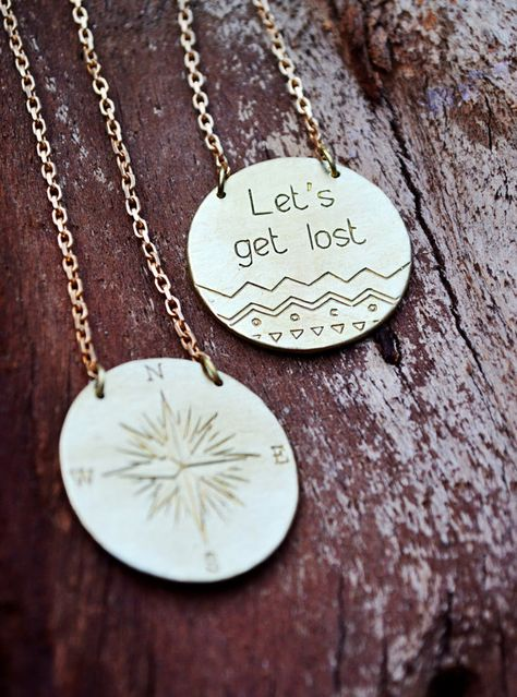 Compass Necklace / Large Pendant With Quote / Let's by Bubblebox