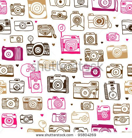stock vector : Seamless photo camera background pattern in vector