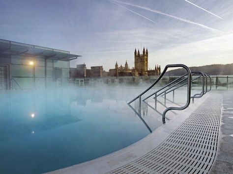 The town of Bath, UK's Thermae Bath Spa.  Do as the Romans did and find yourself bathing in the hot springs of Bath. The Somerset city is renowned for its spas which are fed by 45C natural springs below the city. One of the best choices for UK spa breaks is the new(ish) £45m Thermae Bath Spa where you can bathe in the natural mineral-rich waters, indulge in spa treatments or just enjoy the views from the open-air rooftop pool.