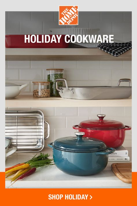 From the stovetop to the tabletop, The Home Depot has the best name brands in cookware. Whether you go with enamel, cast iron, stainless steel or ceramic, these pots and pans are simply perfect for warm, wintry recipes you've been waiting to try. Click to shop online now at The Home Depot.