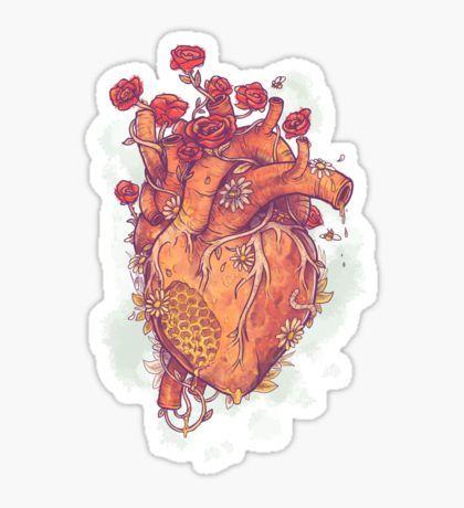 Woodland Heart illustration anatomical heart drawing hiking camping nature animal