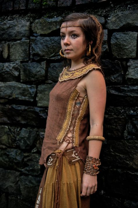 Native American style Embroidery Brown Tribal women Earthy Top made of Hand woven traditional cotton