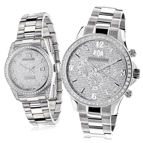 e1c8eaaffd2b His And Hers Watches  Stainless Steel Luxurman Diamond Set 3.5Ct  Swiss Movt