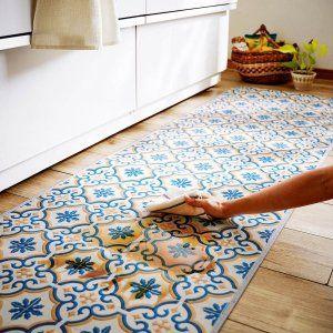 キッチンマット タイル柄の拭けるキッチンマット ブルー系 約60 180