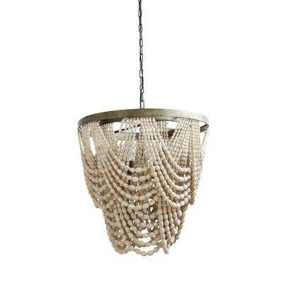 16++ Whitewash wood draped bead 4 light chandelier info