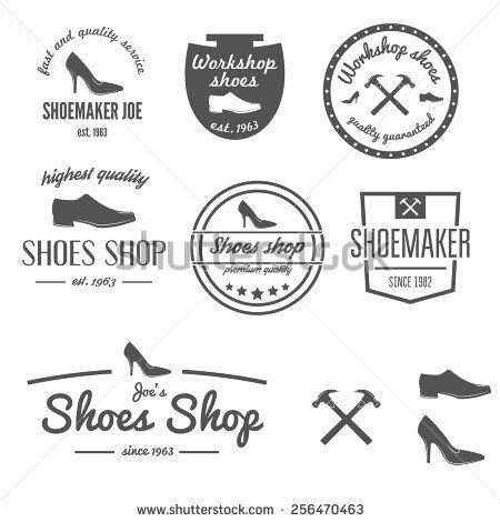 Set Of Vintage Logo Badge Emblem Or Logotype Elements For Shoemaker Shoes Shop And Shoes Repair Shop Logo Design Vintage Logo Shoe Logo Design