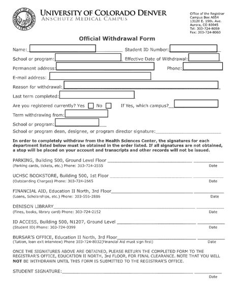 University of Colorado Withdrawal form Educational Background - exit interview form