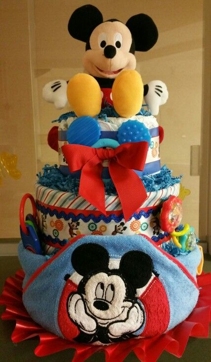 MICKEY MOUSE CHARACTERS BOY NEUTRAL DIAPER BASSINET BABY SHOWER CENTERPIECE