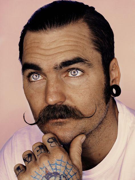 Curly Mustache. Men. Ink.