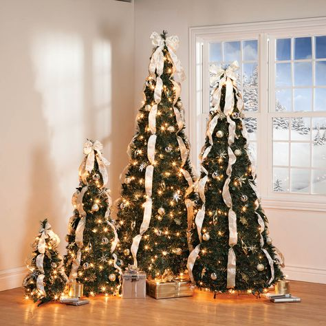 4 Ft Silver Gold Pull Up Tree Pull Up Christmas Tree Gold Christmas Tree Hanging Ornaments
