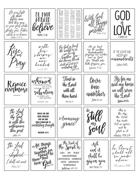PRINTABLE Planner Stickers Bible Verse Black and White | Etsy