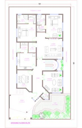 Floor Plan Of 1 Kanal House Indian House Plans Bedroom House Plans Model House Plan