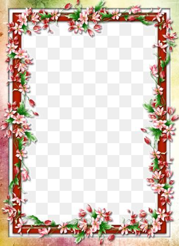 Colorful Floral Border Design Png Free Download Floral Clipart Frame Green Png And Vector With Transparent Background For Free Download Floral Border Design Floral Border Border Design