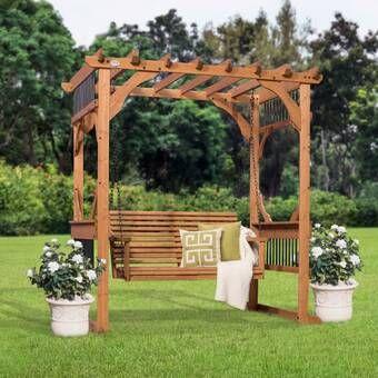 Backyard Discovery Deluxe 7 Ft W X 5 5 Ft D Solid Wood Pergola Reviews Wayfair Outdoor Pergola Pergola Swing Pergola