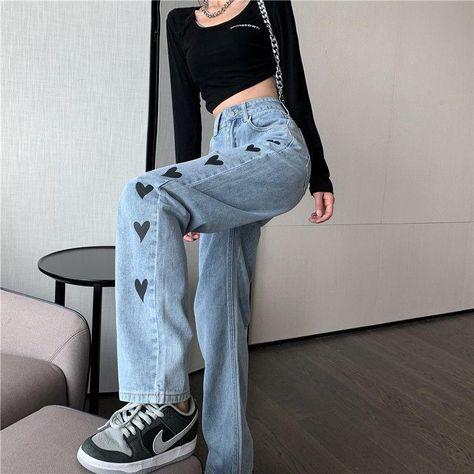 Love Heart Print High Waist Wide Leg Denim Pants - Blue / S
