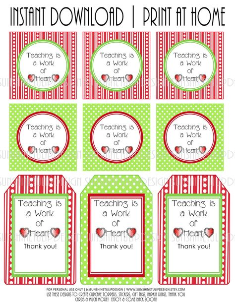 Printable Teacher Appreciation Tags Teaching is a Work of | Etsy