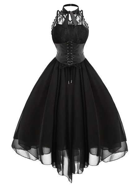 Gothic Fashion 519602875756665346 - Lace Panel Cross Back Gothic Corset Dress Source by emadureve Gothic Corset Dresses, Goth Dress, Gothic Outfits, Edgy Outfits, Mode Outfits, Dress Outfits, Lace Corset, Gothic Clothing, Emo Dresses