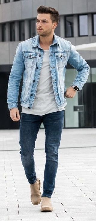 Fall Double Denim Combo With A Light Wash Denim Jacket Off White T Shirt Slim Denim Jeans Sand Mens Winter Fashion Light Wash Denim Jacket Mens Fashion Casual