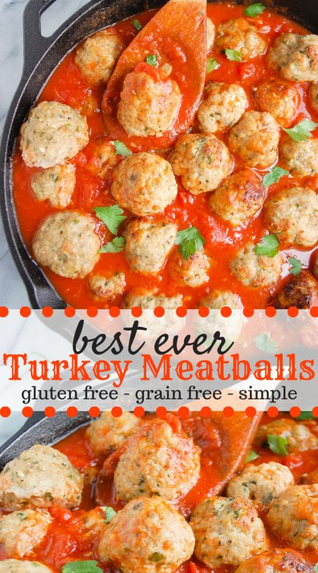 These gluten-free easy turkey meatballs are juicy, moist, and so full of flavor you will never believe they were made with only a handful of simple ingredients. They are simple to make and can be served along delicious homemade spaghetti sauce and pasta. #homemadeturkeymeatballs #turkeymeatballs #meatballs #glutenfree #glutenfreemeatballs #glutenfreerecipes #simpledinnerrecipes | erinliveswhole.com