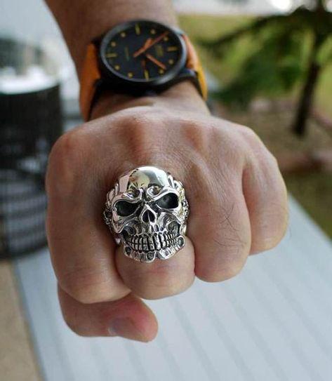 Silver Skull Ring Sterling Silver Men's Rings Gothic   Etsy