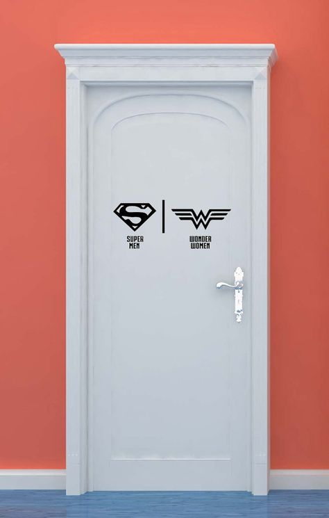 Salle de bains, toilettes, signe, hommes, femmes, Superman, Wonder Woman, super-héros, vinyle, autocollant, sticker, maison, chambre à coucher, pépinière, décor de l'enfant