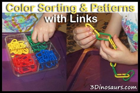 Color Sorting  Patterns with Links - 3Dinosaurs.com