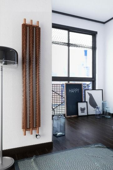 Terma Ribbon Ve Electric Radiator Bluetooth Controlled 1800h X 290w Mm 800w Bright Copper In 2020 Electric Radiators Room Heating Element