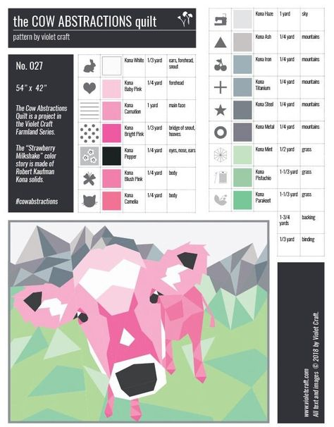 Cow Abstractions Quilt Pattern or Quilt Kit by Violet Craft