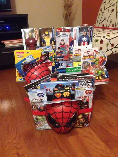 Silent auction superhero basket