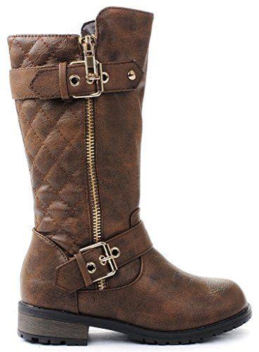 Kids Mid-Calf Boots Zipper Winter Bootie Teen Girls Faux Leather Fleece Riding Boots