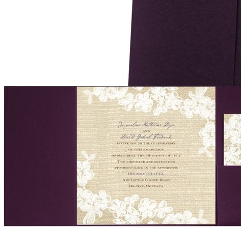 Burlap And Lace Pocket Wedding Invitation Dark Purple Rustic